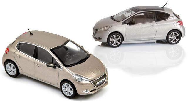 Miniatures Peugeot 208 Ice Velvet et 208 Allure Blossom Grey - Norev 1/43°