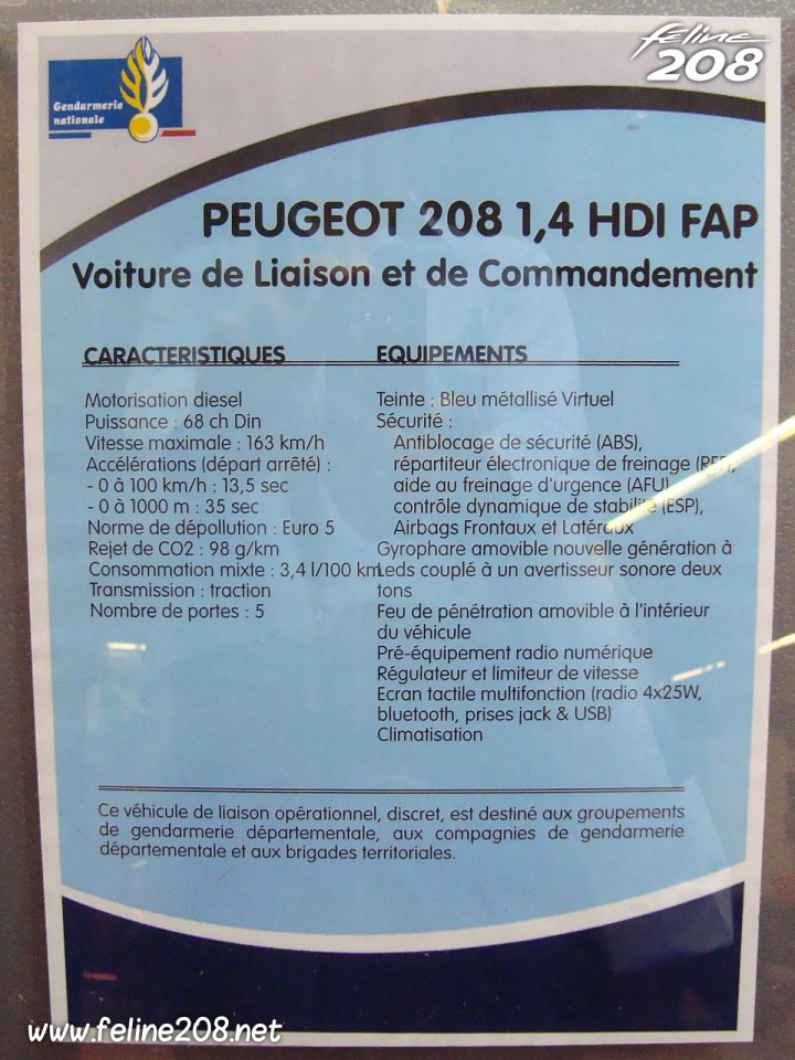 fiche technique peugeot 208 gendarmerie bleu virtuel 1 4 hdi 68 mondial de paris 2012 9 004. Black Bedroom Furniture Sets. Home Design Ideas