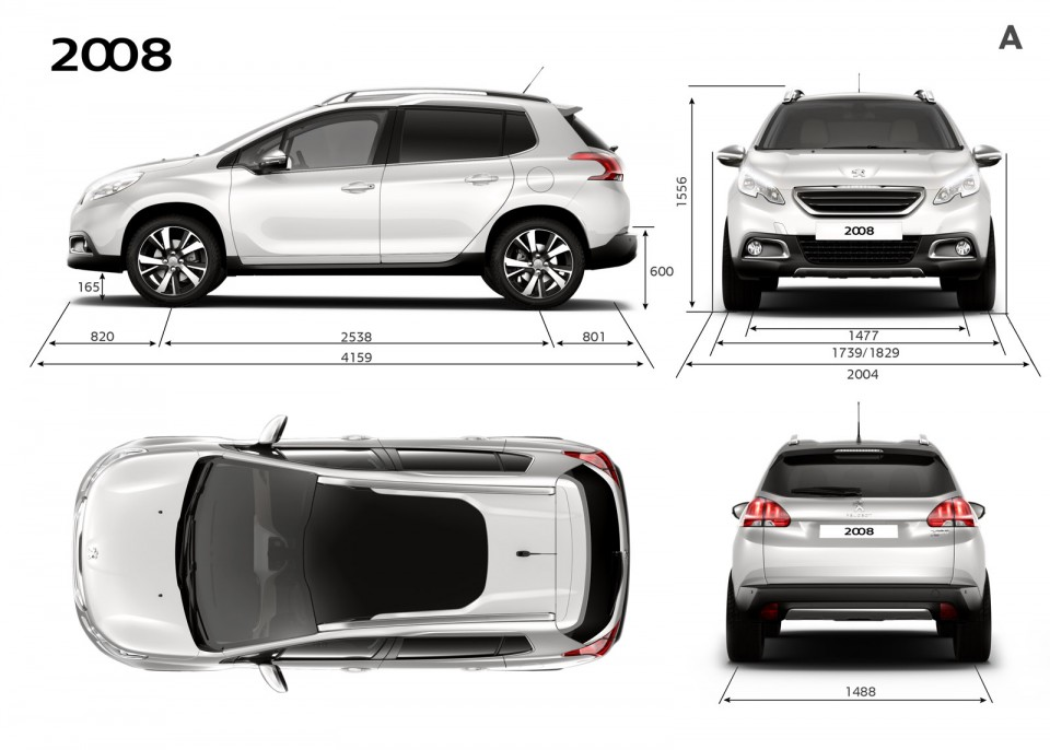 dimensions ext rieures peugeot 2008 photo officielle 2