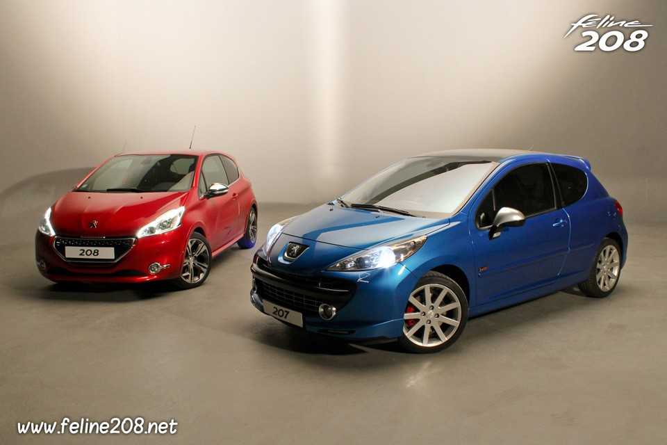 la peugeot 208 gti rouge rubi face la peugeot 207 rc bleu r cife 003 photos peugeot 208. Black Bedroom Furniture Sets. Home Design Ideas